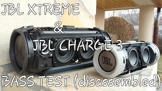 JBL Xtreme & JBL Charge 3 - Bass test (disassembled) → JBL Connect