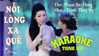 {KARAOKE} NỖI LÒNG XA QUÊ (Tone Nữ) - Kim Linh