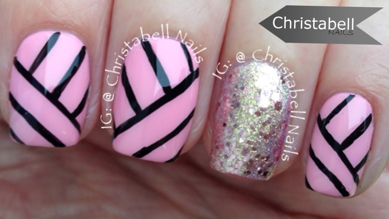 ChristabellNails Geometric Lines Nail Art Tutorial - YouTube