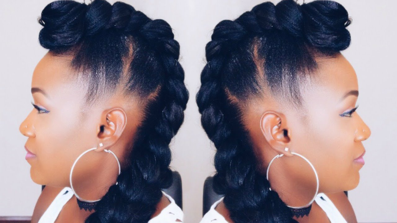 Quick Braided Mohawk Updo On Short Hair Youtube
