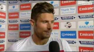 Arsenal 1-0 Tottenham Hotspur - Olivier Giroud and Aaron Ramsey Interview - 01/09/13