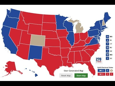 Donald Trump vs Hillary Clinton / Electoral College Map / Nov 5 ...