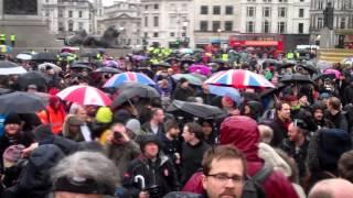 April 13, 2013: Thatcher death party celebration @ Trafalgar Square (NUM miners & banner)