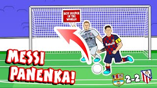 ⬆️MESSI PANENKA!⬆️ 2-2 Barcelona vs Atletico Madrid (Parody 700 goals penalty highlights)