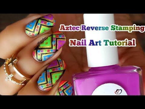 Moyou London Aztec Neon Reverse Stamping Nail Art Tutorial