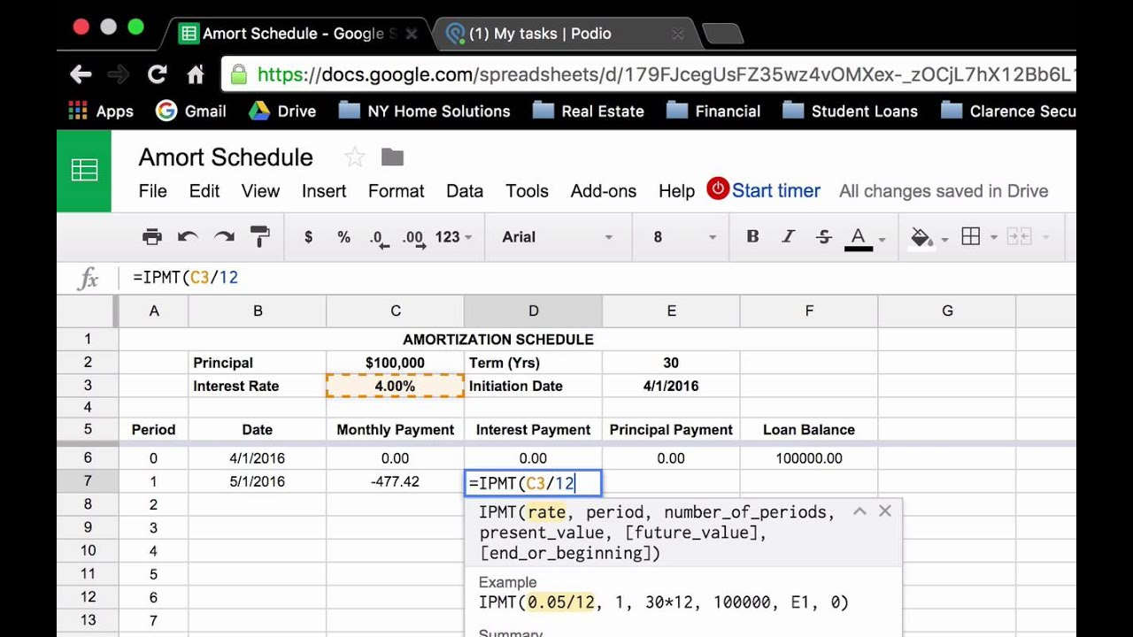 How to Create a Loan Amortization Schedule in Google Sheets/ MS Ecel ...