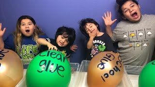 Making Slime with Giant Balloons - Giant Balloon Slime Tutorial with Our Little Brothers