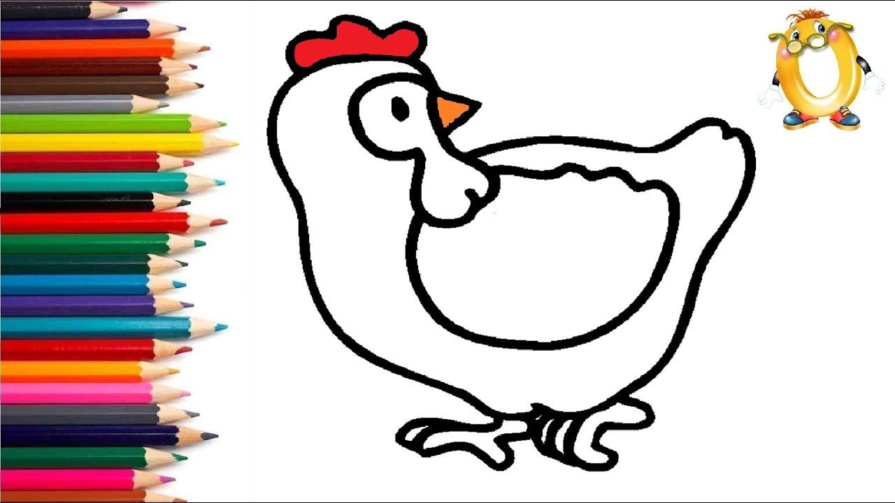 Раскраска для детей КУРОЧКА. Мультик - Раскраска. Учим ...