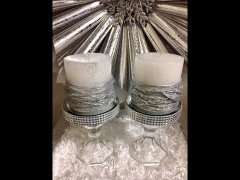 Rhinestone Decor Candle Holder For Weddings Sweet 16s Quinceaneras Diy