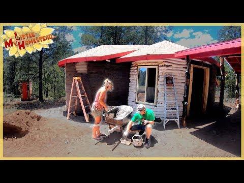 Earthbag Cabin Stucco Finish, Kitchen Cabinet Construction & Aquaponics Build | Weekly Peek Ep190