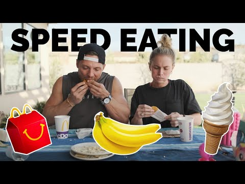 Try To Eat In ONE SECOND Challenge (Speed Eating) // BATTLE OF THE SEXES