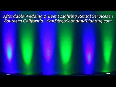 Blue & Green Up Lights Demo, Riverside Event Lighting Rental, LED Wall Lighting, LED Lights