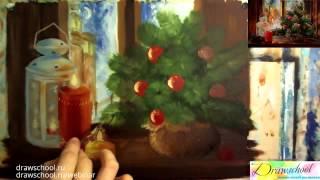 Видео-урок о том, как нарисовать елочку и свечи красками, рисунок на новый год.
