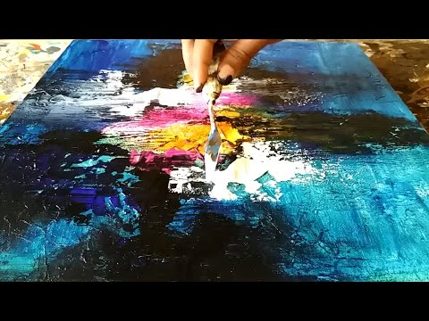 Abstract painting / How to paint abstract painting and texture the canvas with gesso / Demo