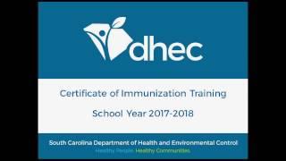 Certificate of immunization training: school year 2017-2018