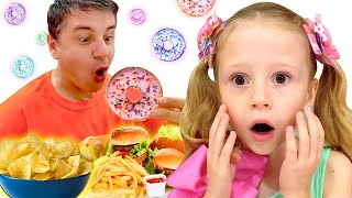 Nastya babası için sağlıklı yemek hazırladı eğlenceli çocuk videosu