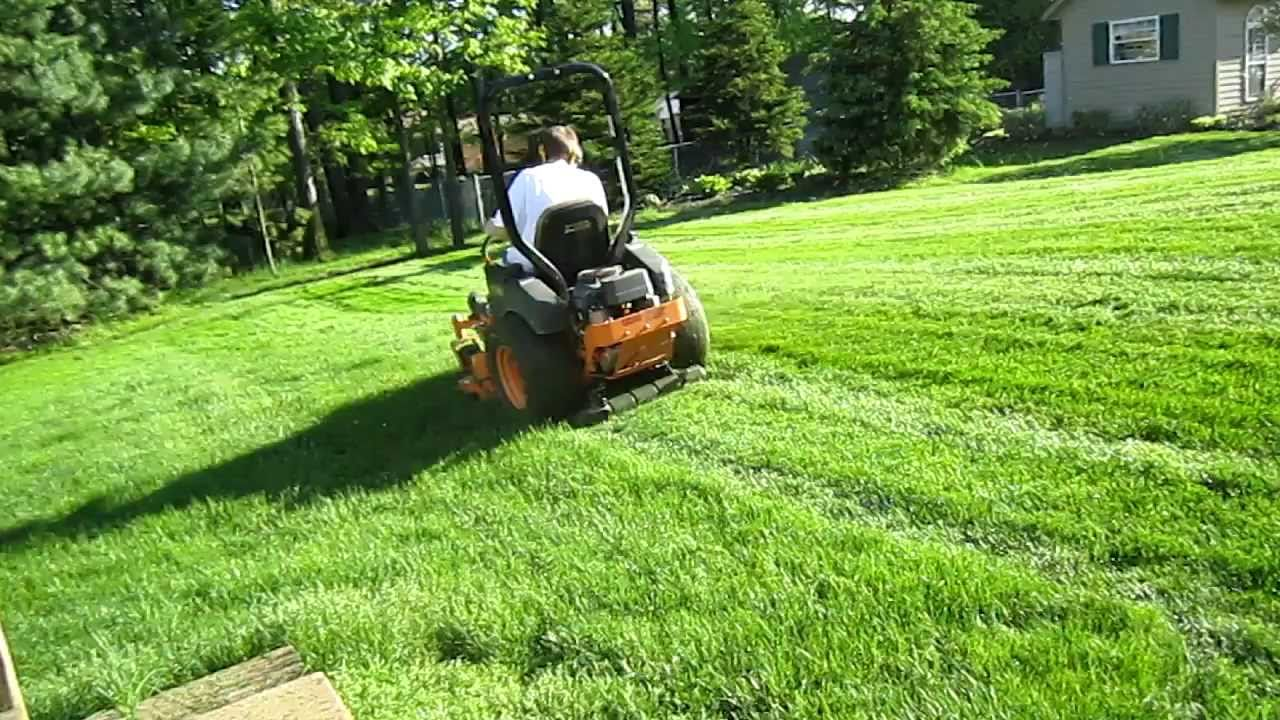Scag Mowing With Striping Roller Youtube