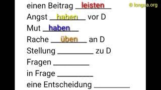 A1, A2, B1, B2, C1, Übungen, Nomen, Verb, Präpositionen, Kombination, Dativ, Akkusativ, Wechsel