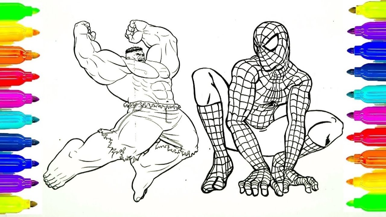 Dibujos para colorear Spiderman y Hulk y Ironman para niños - YouTube
