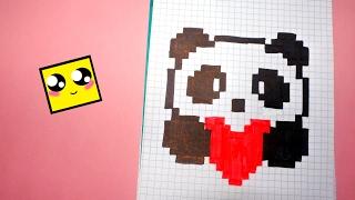 Рисуем по клеточкам-ПАНДА С СЕРДЕЧКОМ KAWAII (KAWAII PANDA HEART )!
