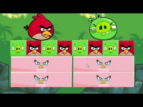 Angry Birds Kick Piggies - THE BATTLE OF RED BIRDS AND PIGGIES TO RESCUE RECTANGLE STELLA!