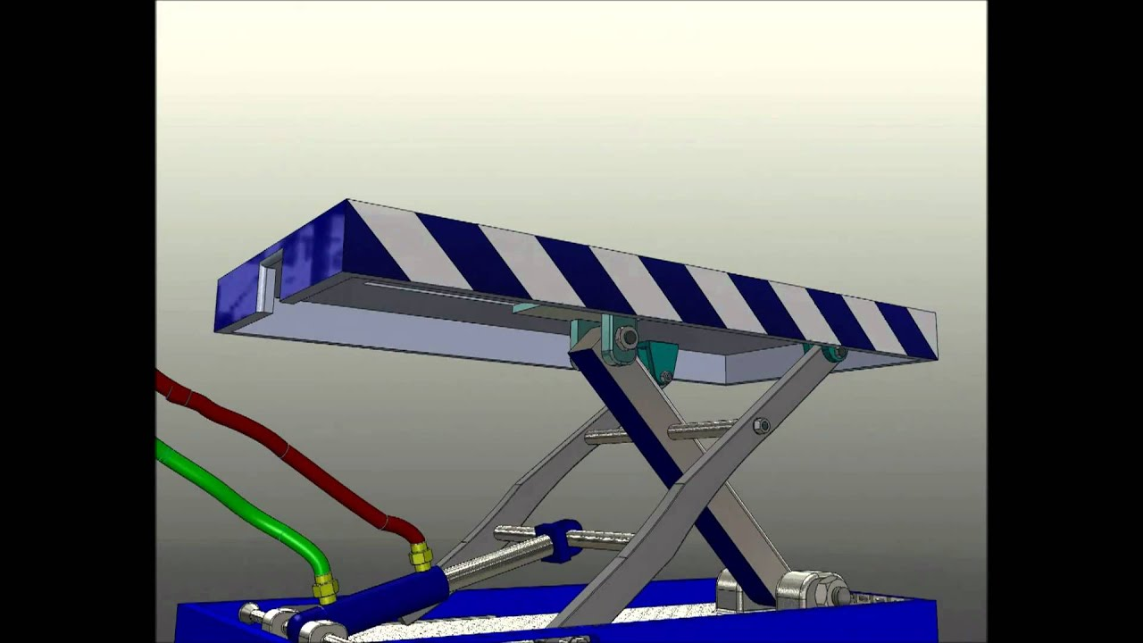 Small Hydraulic Scissor Lift Animation Solidworks Youtube