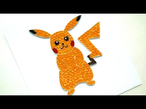 DIY Paper Quilling  Pokemon Pikachu - Cute Paper Pokemon Tutorial - Quilling Wall Decor