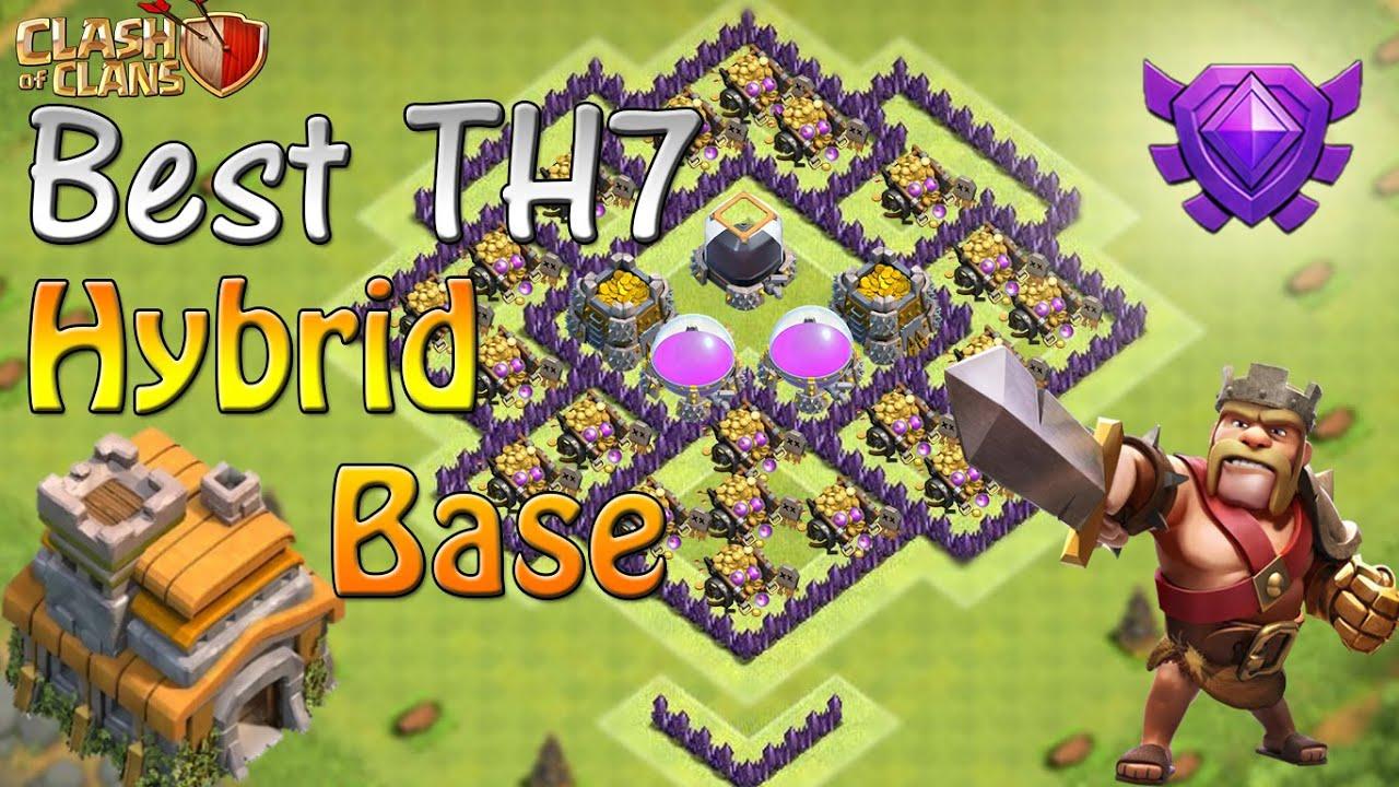 Clash of clans th7 farming base best town hall 7 hybrid base
