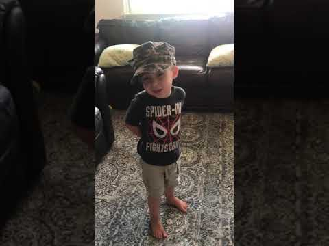 Hilary - Little boy knows the Marines' Hymn word for word