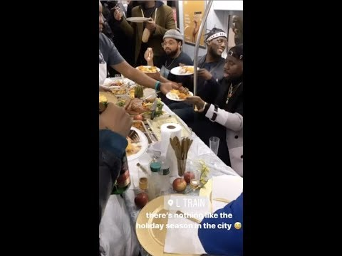 C-Rob Blog (58472) - NYC Subway Commuters Surprised With Full Thanksgiving Meal On Train