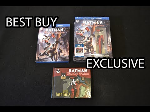 Best Buy Exclusive BATMAN & HARLEY QUINN Blu ray w/ GRAPHIC NOVEL & FIGURE! unboxing review streaming vf