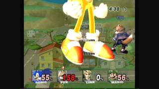 Brawl Hacks - Giant Growing Sonic / Super Sonic and Fox v.s. Link and Mario
