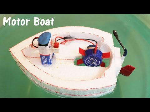 How to make an Electric Motor Boat using Thermocol and DC motor