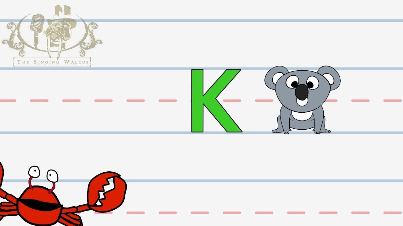 write the letter k alphabet writing lesson for children the