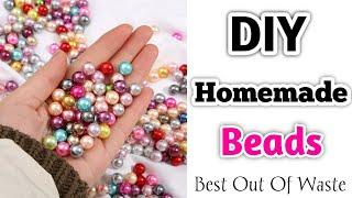 DIY : Homemade Beads / How to make beads at home / Beads making at home /DIY Easy Paper Beads making