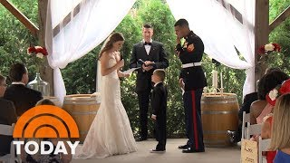 Watch Marine's Son, 4, Tearfully Hug His New Stepmom As She Reads Wedding Vows   TODAY