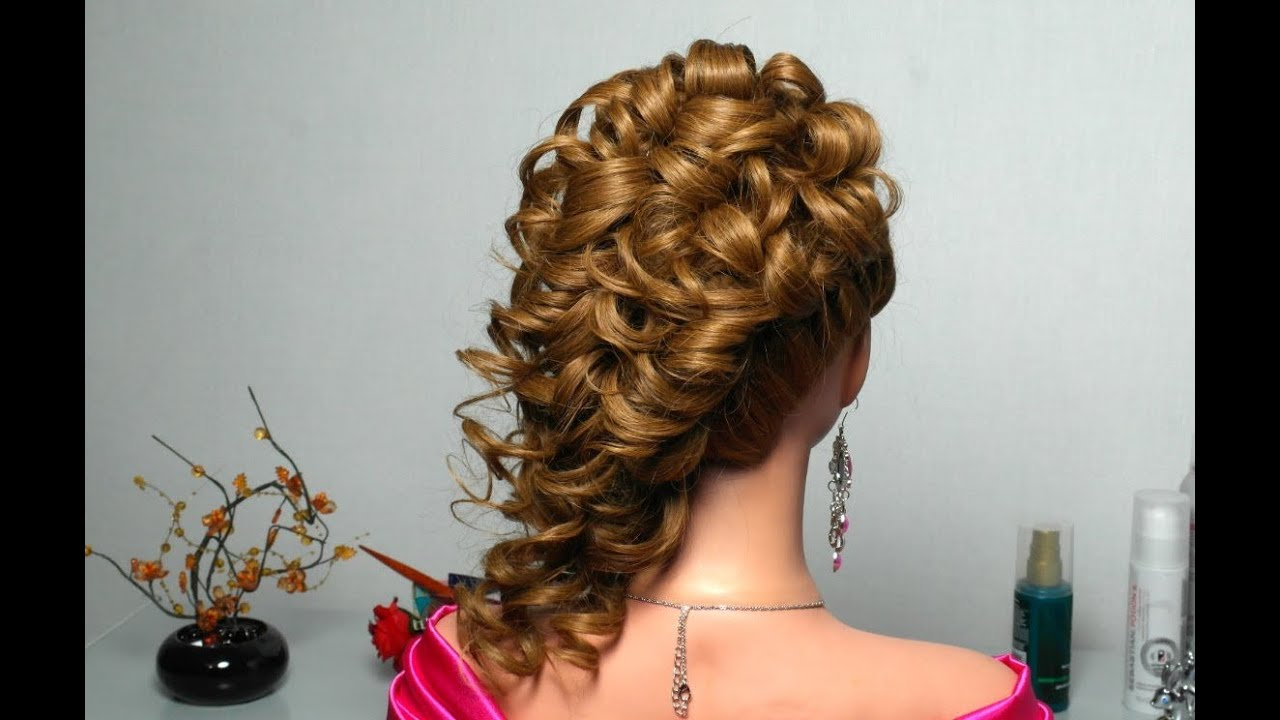 Curly Prom Wedding Hairstyle For Long Hair.