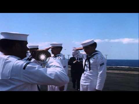 Naval officers greeted by US Navy Vice Admiral Martin and Rear Admiral Geis aboar...HD Stock Footage