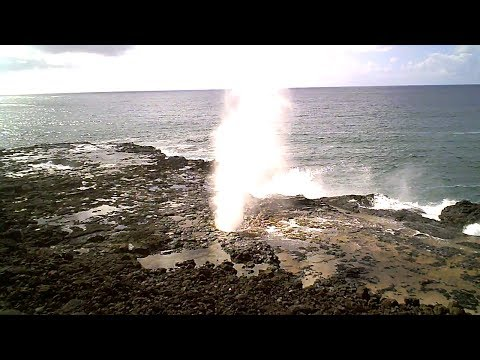 Spouting Horn blowhole in Poipu on south shore of Kauai, Haw