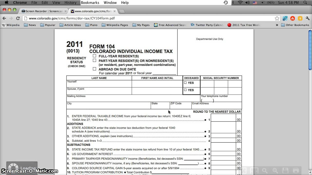 Colorado Printable Tax Forms 2012 Form 104 Online Printable Or