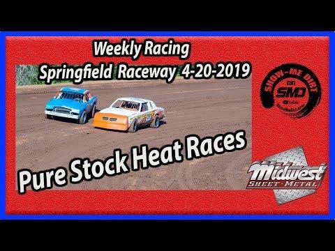 S03 E178 Pure Stock Heat Races Weekly Racing - Springfield Raceway 4-20-2019 #DirtTrackRacing