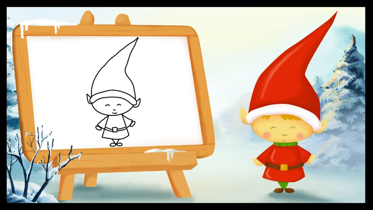 Comment dessiner un lutin de no l youtube - Pere noel facile a dessiner ...