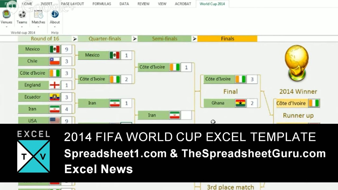 2014 Fifa World Cup Excel Template Spreadsheet Free Youtube