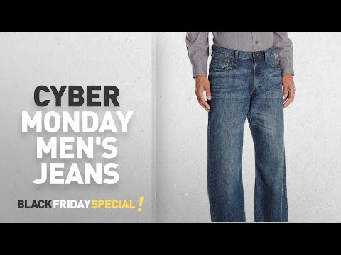 Cyber Monday Men's Baggy Jeans Deals: Wrangler Authentics Men's Premium Loose-Fit Straight-Leg Jean