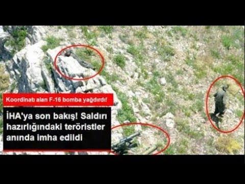Mehmetçik'e Roket Atmaya Hazırlanan Teröristleri İHA Tespit, F 16 İmha Etti