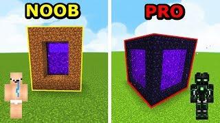 Minecraft NOOB VS PRO- JAK ZBUDOWAĆ PORTAL W MINECRAFT!