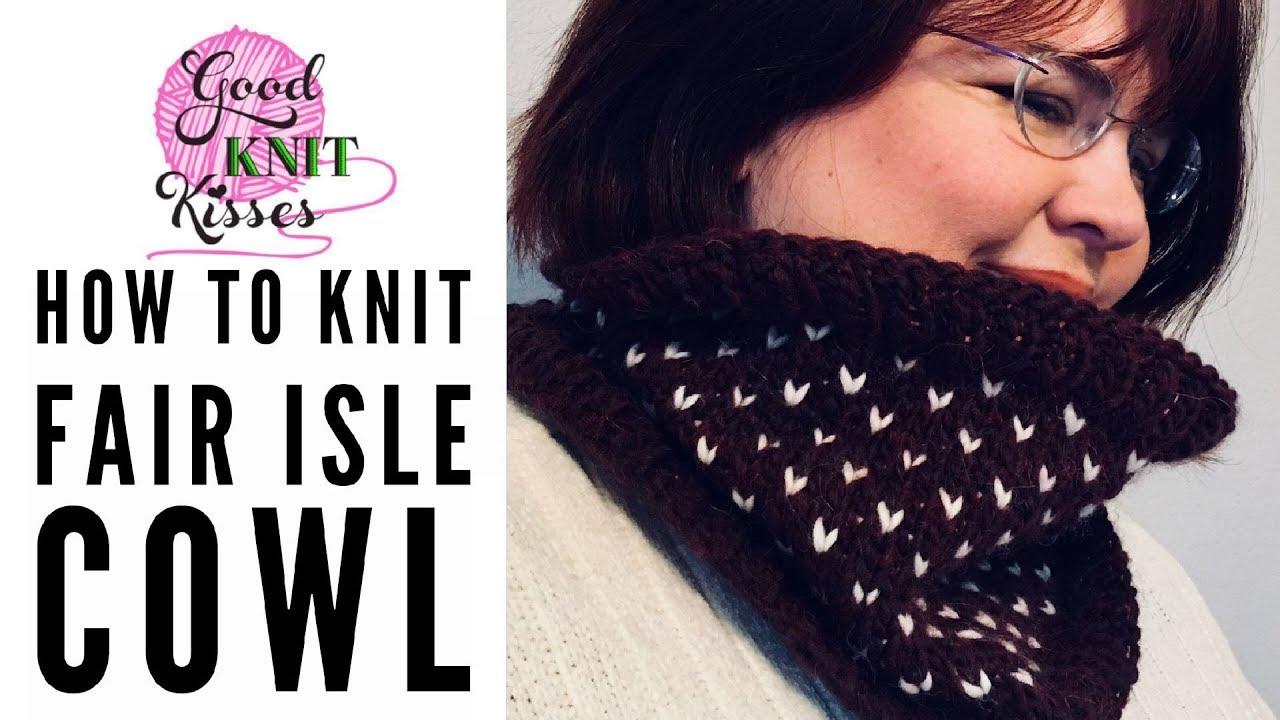 How to Knit Fair Isle | Cowl (CC) - YouTube