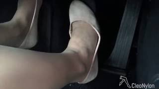 #26 nylon shoeplay flats in car part 3