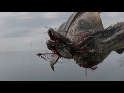 Эурон сжигает флот и убивает дракона. Игра престолов 8 сезон 4 серия.