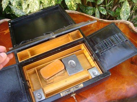 Vintage Old  Antique Leather & Wood Writing  Slope Box / Stationary Box With Key